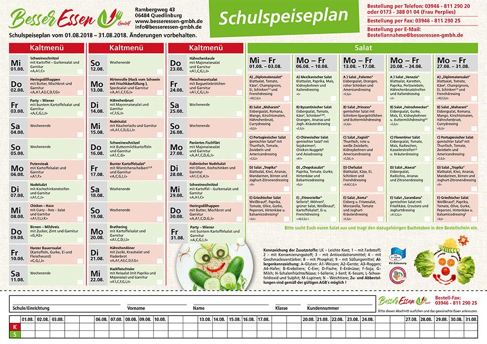Muster Bestellformular Kalt+Salat